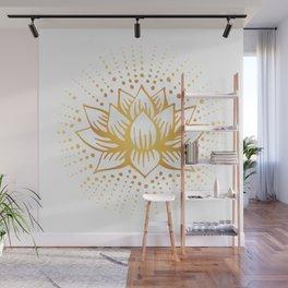 Golden Lotus Mandala Light Wall Mural