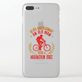 Mens Never Underestimate An Old Man With A Mountain Bike product Clear iPhone Case