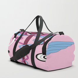 medical caduceus and stethoscope, pink Duffle Bag