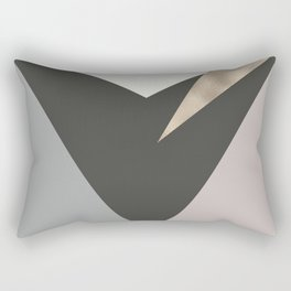 Abstract geometrical faux gold black gray triangles pattern Rectangular Pillow