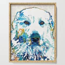 Colorful Dog - Great Pyrenees - Sharon Cummings Serving Tray
