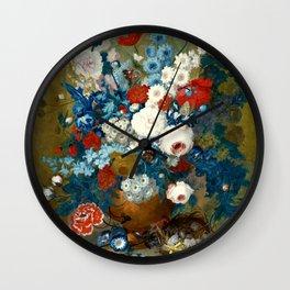 "Jan van Os  ""Flower still life with a bird's nest on a ledge"" Wall Clock"