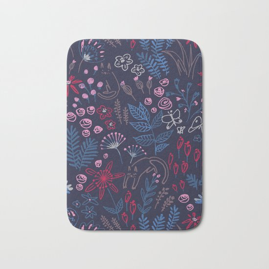 Flowers with cats pattern Bath Mat