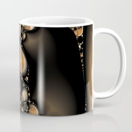 Flowers and Pebbles Fractal in beige, black, and camel Coffee Mug