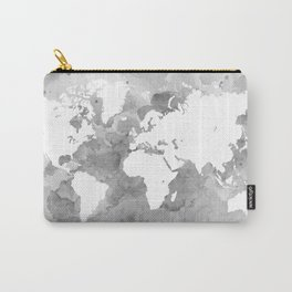 Design 49 Grayscale World Map Carry-All Pouch