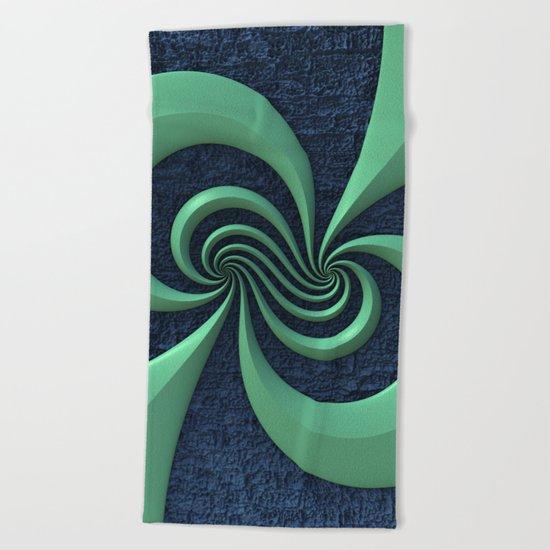 Green on Blue Beach Towel