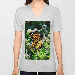 Monarch on Fiddlehead Blossoms Unisex V-Neck