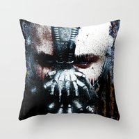 bane Throw Pillows featuring Bane: Rise by Sirenphotos