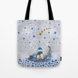 Snowman with sparkly blue stars Tote Bag