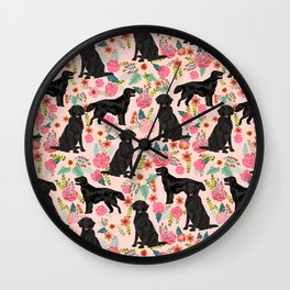 Flat Coated Retriever dog breed pet art dog floral pattern gifts for dog lover pet friendly Wall Clock