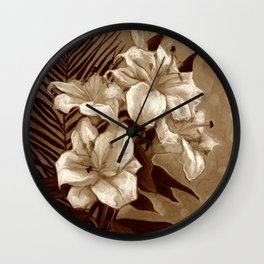 White Lilies and Palm Leaf in brownscale Wall Clock