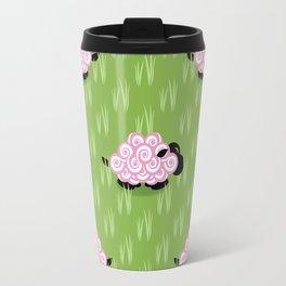 Pastel Sheep Pattern Travel Mug