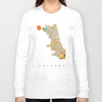 chicago Long Sleeve T-shirts featuring Chicago by Nicksman
