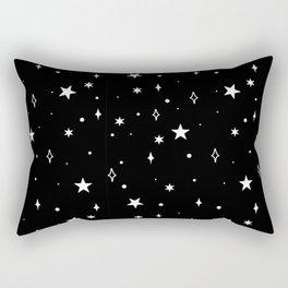 Stars in Space Pattern (white/black) Rectangular Pillow