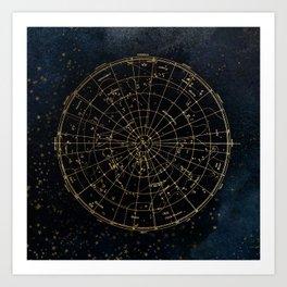 Golden Star Map Kunstdrucke