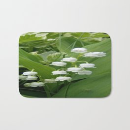 Pure White Lily of the Valley Flower Macro Photograph Bath Mat