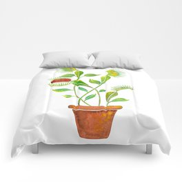 Venus Fly Trap Watercolor Comforters
