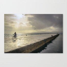 woman bike croatia Canvas Print
