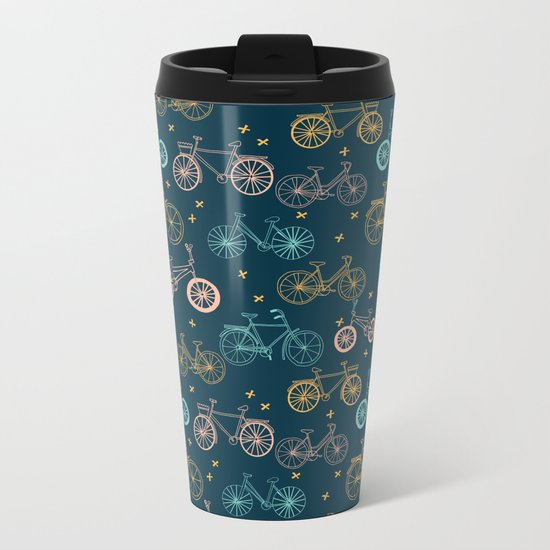 Bicycles cycle pattern navy and pastel pink by andrea lauren Metal Travel Mug