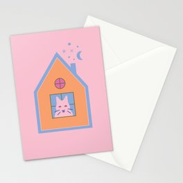 Cat at Home Stationery Cards