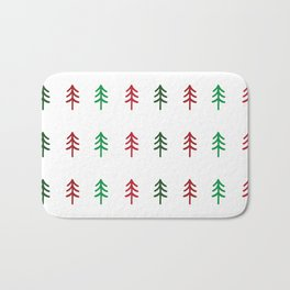 Hand drawn forest green and red trees for Christmas time Bath Mat
