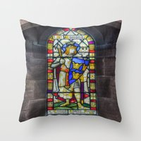 stained glass Throw Pillows featuring Stained Glass by Ian Mitchell