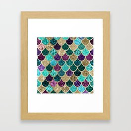 Mermaid Scales Decor, Teal, Purple, Gold Framed Art Print