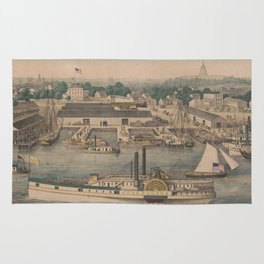 Vintage Pictorial Map of The 6th Street Wharf - Washington DC Rug