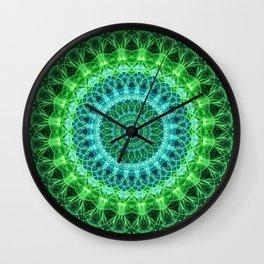 Mandala in bright green and blue Wall Clock