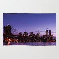 brooklyn bridge Area & Throw Rugs featuring Brooklyn Bridge by hannes cmarits (hannes61)