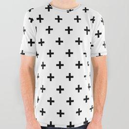 Black Swiss Cross All Over Graphic Tee