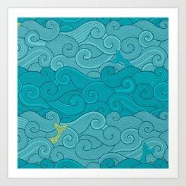 Surf Side - AQUA Art Print