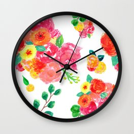 Watercolor Bouquet Floral in White + Pink Wall Clock
