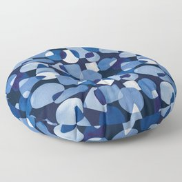 Blue Watercolour Geometric on Dark Blue Background Floor Pillow