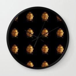 Budhha Golden Head by Lika Ramati Wall Clock