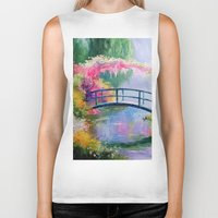 monet Biker Tanks featuring Pond in the garden of Monet by OLHADARCHUK