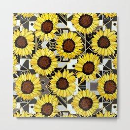 Sunflowers on Black & White Art Deco Metal Print