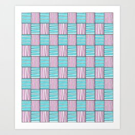 symetric tartan and gingham 22 -vichy, gingham,strip,square,geometric, sober,tartan Art Print