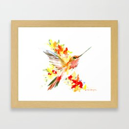 Hummingbird and Flame Colored Flowers Framed Art Print
