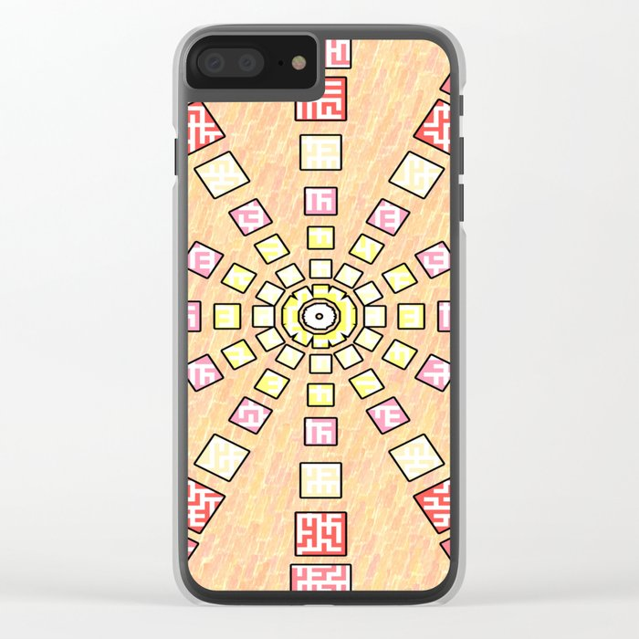 Ethnic wheel in pink Clear iPhone Case
