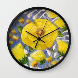 Yellow Bloom, Yellow Abstract Flowers, Yellow and Blue, Floral Prints, Modern Floral Wall Clock