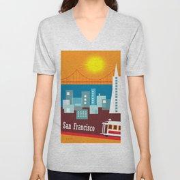 San Francisco, California - Skyline Illustration by Loose Petals Unisex V-Neck