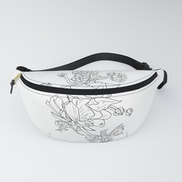 Floral Ink - Black & White Ranunculus by Cooper and Colleen Fanny Pack
