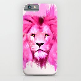 A pink lion looked at me iPhone Case