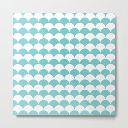 Aqua Fan Shell Pattern Metal Print