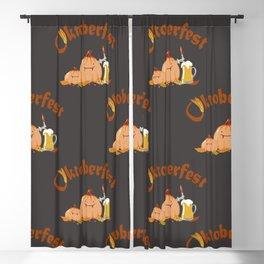 Vector dark seamless pattern of oktoberfest  lettering, pumpkins and beer mugs Blackout Curtain