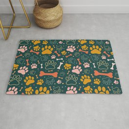 Dog Paw Colorful Pattern Rug