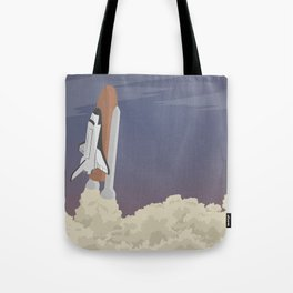 blast off launch pad Shuttle flies into space Tote Bag