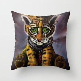 Sad Baby Tiger Throw Pillow