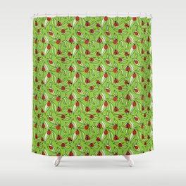 Ladybugs and Leaves Shower Curtain